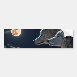 White Wolves in the Full Moon Bumper Sticker