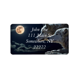 White Wolves in the Full Moon Label