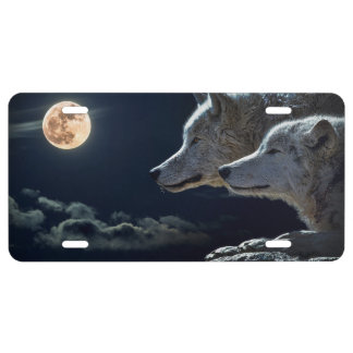 White Wolves in the Full Moon License Plate