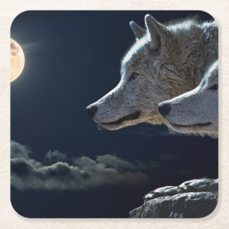 White Wolves in the Full Moon Square Paper Coaster