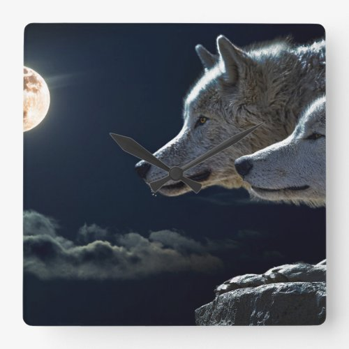 White Wolves in the Full Moon Square Wall Clock