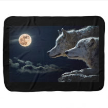 White Wolves in the Full Moon Swaddle Blanket