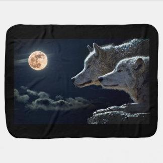 White Wolves in the Full Moon Swaddle Blanket