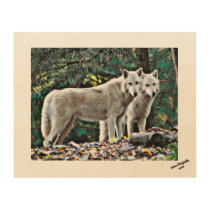 White Wolves on a Wood Plaque Wood Wall Art
