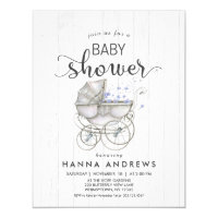 White Wood U0026 Carriage Boy Baby Shower Invitation