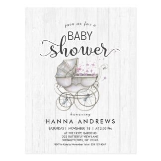 White Wood & Carriage Girl Baby Shower Invitation Postcard