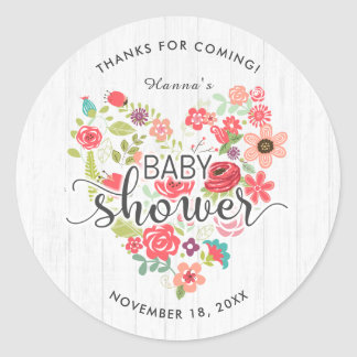 White Wood Floral Heart Girl Baby Shower Thank You Classic Round Sticker