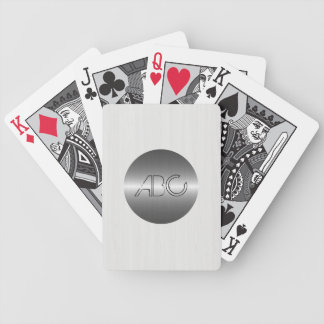 White Wood Grain Texture Modern Stainless Metal Bicycle Playing Cards