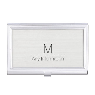 White Wood Grain Texture Monogram Business Card Case