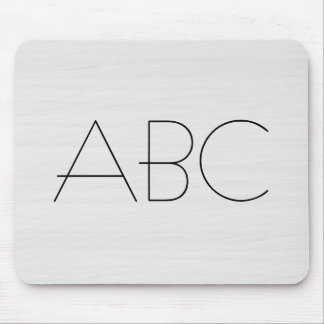 White Wood Grain Texture Monogram Mouse Pad