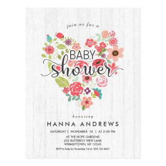 White Wood & Heart Girl Baby Shower Invitation Postcard