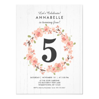 White Wood Peach Floral Birthday Party Invitation