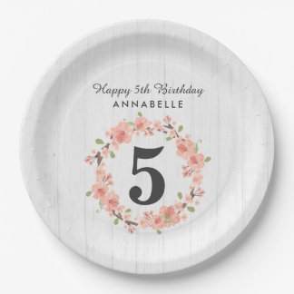 White Wood & Peach Floral Wreath Happy Birthday Paper Plate