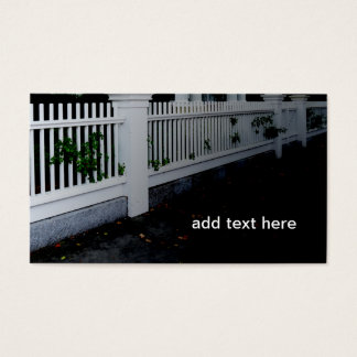 white wood picket fence business card