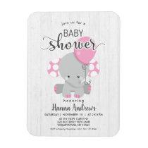 White Wood Pink Elephant Baby Shower Invitation Magnet