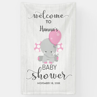 White Wood & Pink Elephant Baby Shower Welcome Banner