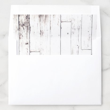 White Wood Rustic Farmhouse Country Wedding Envelope Liner