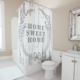 White Wood Rustic Farmhouse Home Sweet Shower Curtain