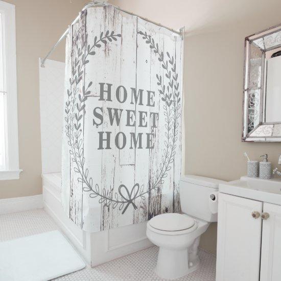 White Wood Rustic Farmhouse Home Sweet Home Shower Curtain
