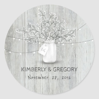 White Wood Rustic Mason Jar Baby's Breath Wedding Classic Round Sticker