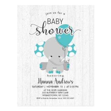 White Wood Teal Elephant Baby Shower Invitation Postcard