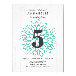 White Wood Teal Floral Birthday Party Invitation