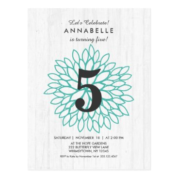 White Wood Teal Floral Birthday Party Invitation Postcard