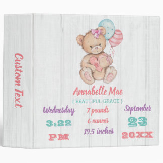 White Wood & Teddy Bear Baby Girl Scrapbook 3 Ring Binder