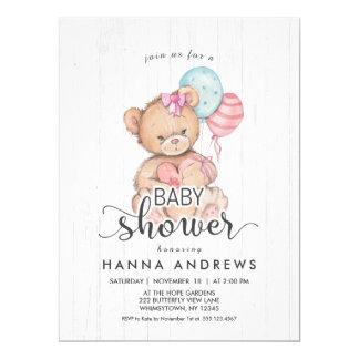 White Wood Teddy Bear Girl Baby Shower Invitation