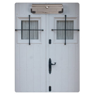 White Wooden Door With Black Wrought Iron Bars Clipboard