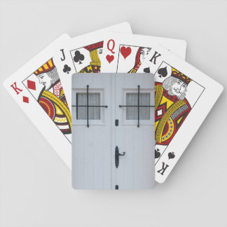 White Wooden Door With Black Wrought Iron Bars Poker Deck