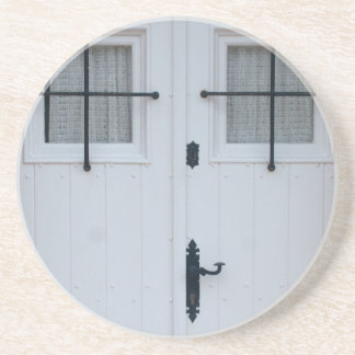White Wooden Door With Black Wrought Iron Works Drink Coaster