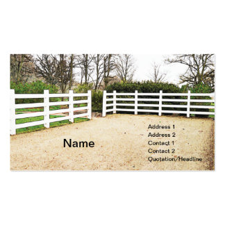 white wooden post and rail fence business card