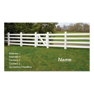 white wooden post fence and gate business cards
