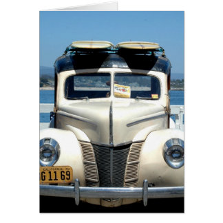 White woody with surfboards greeting card