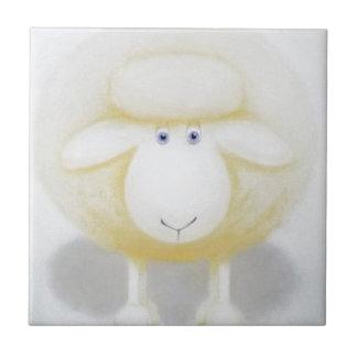 White Woolly Sheep For Ewe Ceramic Tile