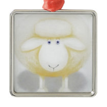 White Woolly Sheep For Ewe Metal Ornament
