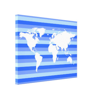 white world-map on blue striped canvas print