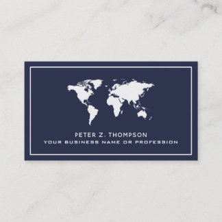 white worldmap on dark blue international business card