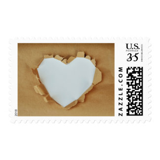White Wrapping Paper Love Heart Valentine's Stamp