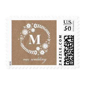 White Wreath Brown Paper Inspired Monogram Wedding Postage