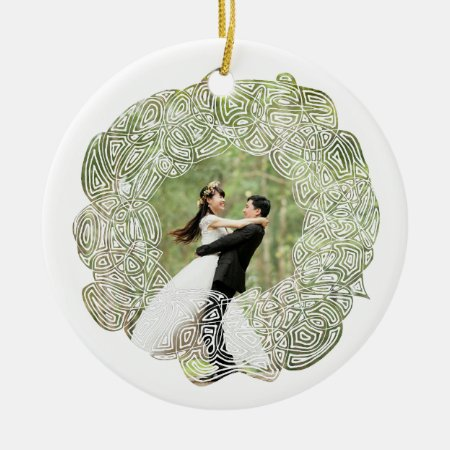 White Wreath Photo Ceramic Ornament