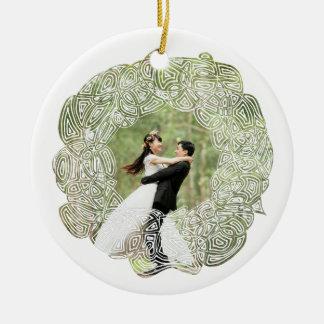 White Wreath Photo Ceramic Ornament