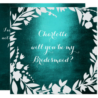 White Wreath Teal Will You Be Bridesmaid Card