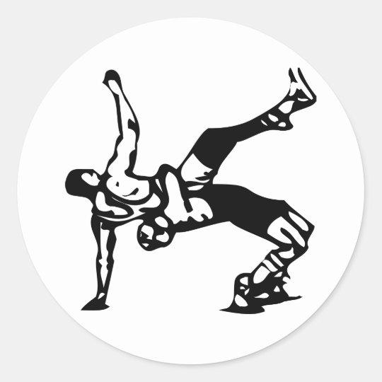 White Wrestling Classic Round Sticker