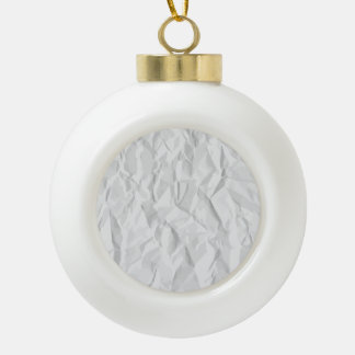 White wrinkled paper texture ceramic ball christmas ornament