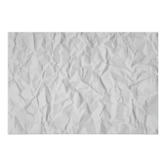 White wrinkled paper texture poster