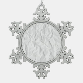 White wrinkled paper texture snowflake pewter christmas ornament