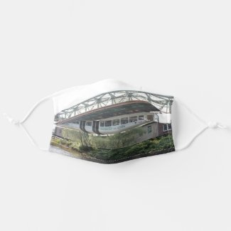White Wuppertal Floating Train Schwebebahn Vorwerk Adult Cloth Face Mask