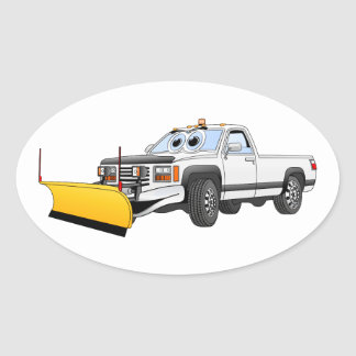 White Y Pick Up Snow Plow Cartoon Oval Sticker